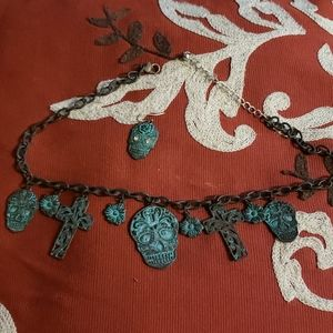 Sugar skull choker necklace with 1 earing turquise